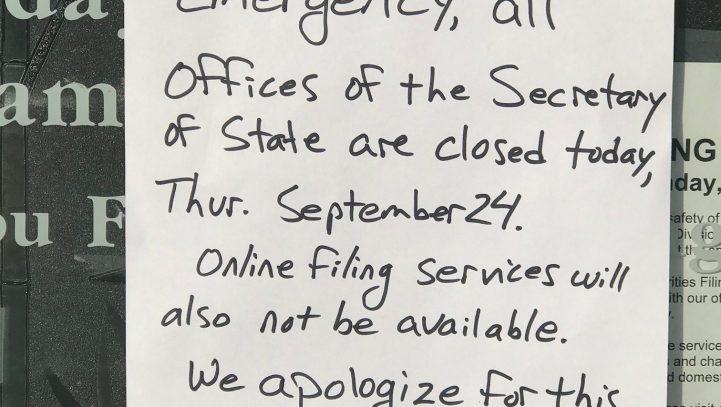WA SOS EMERGENCY CLOSURE 9/24/2020.